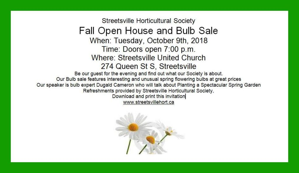 Fall 2018 Open House and Bulb Sale @ Streetsville United Church | Mississauga | Ontario | Canada